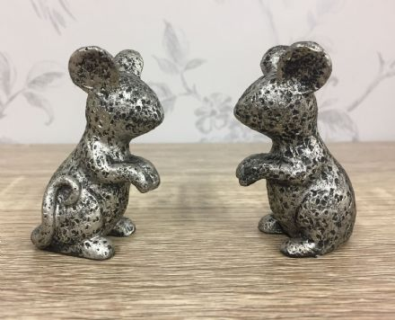 Set of 2 Rustic Silver Mice ~ Small Mouse Ornaments